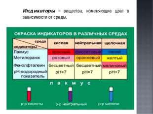 Индикаторы – вещества, изменяющие цвет в зависимости от среды.
