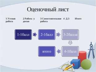 Оценочный лист 1 Устная работа2 Работа у доски3 Самостоятельная работа4 Д.