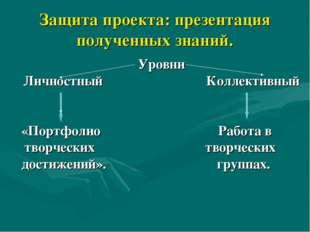 Защита проекта: презентация полученных знаний. Уровни Личностный Коллективный