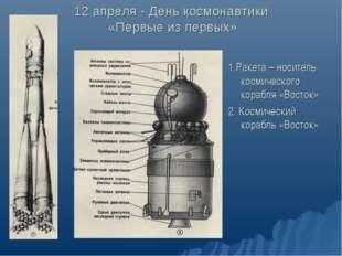 12 апреля - День космонавтики «Первые из первых» 1.Ракета – носитель космичес