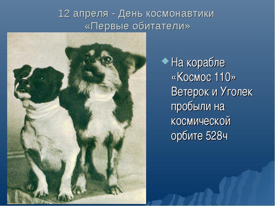 12 апреля - День космонавтики «Первые обитатели» На корабле «Космос 110» Вете...