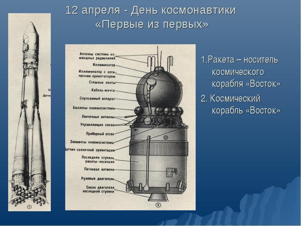 12 апреля - День космонавтики «Первые из первых» 1.Ракета – носитель космичес...