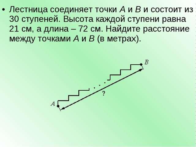 Лестница соединяет точкиAиBи состоит из 30 ступеней. Высота каждой ступен...