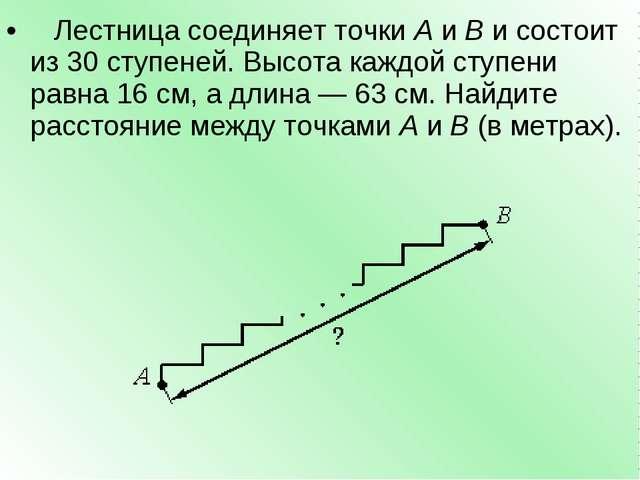 Лестница соединяет точкиAиBи состоит из 30 ступеней. Высота каждой ступе...