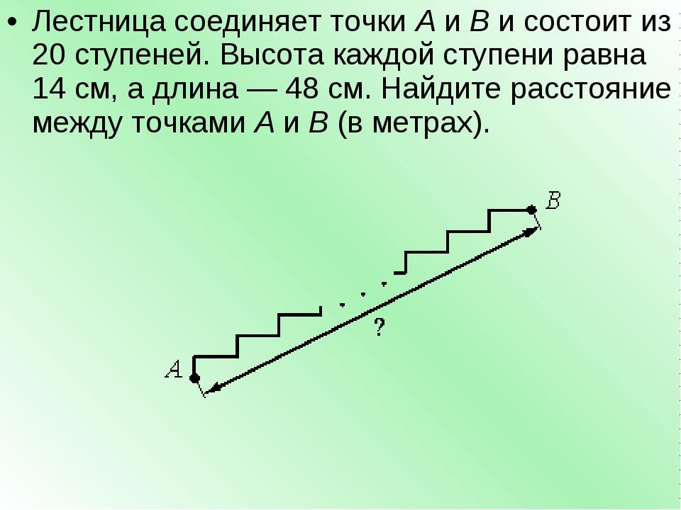 Лестница соединяет точкиAиBи состоит из 20 ступеней. Высота каждой ступен...