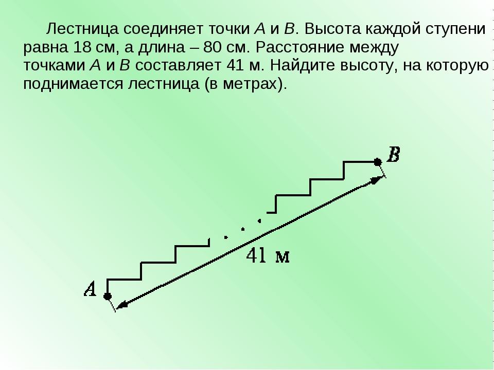 Лестница соединяет точкиAиB. Высота каждой ступени равна 18 см, а длина–...