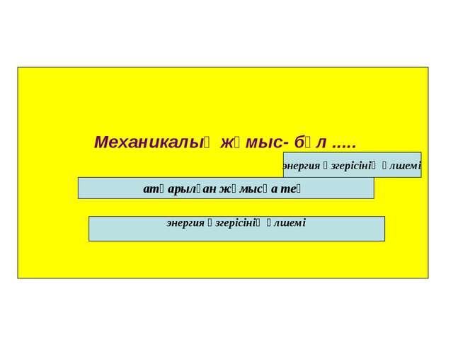 Механикалық жұмыс- бұл ..... атқарылған жұмысқа тең энергия өзгерісінің өлше...