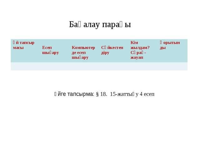 Бағалау парағы Үйге тапсырма: § 18. 15-жаттығу 4 есеп Үй тапсыр масы  Есеп ш...