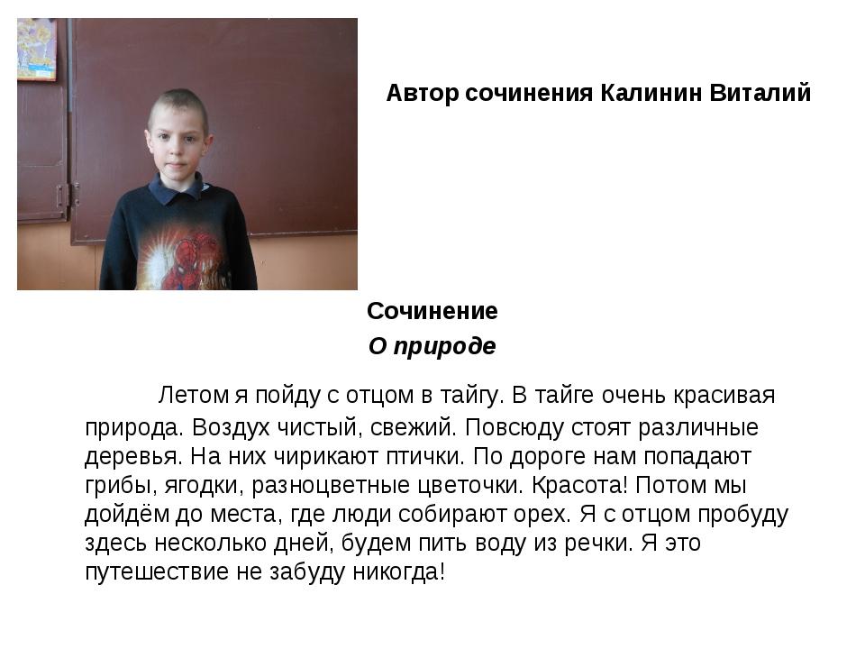Автор сочинения Калинин Виталий Сочинение О природе Летом я пойду с отцом в...