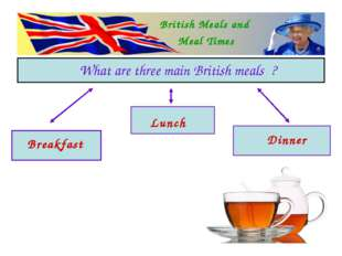 British Meals and Meal Times What are three main British meals ? Breakfast L