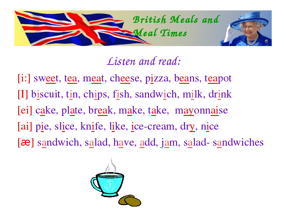 Listen and read: [i:] sweet, tea, meat, cheese, pizza, beans, teapot [I] bisc...