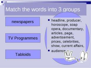 Match the words into 3 groups newspapers TV Programmes Tabloids headline, pro