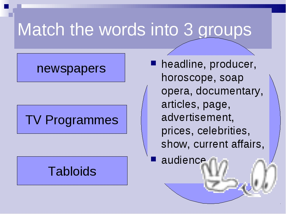 Match the words into 3 groups newspapers TV Programmes Tabloids headline, pro...