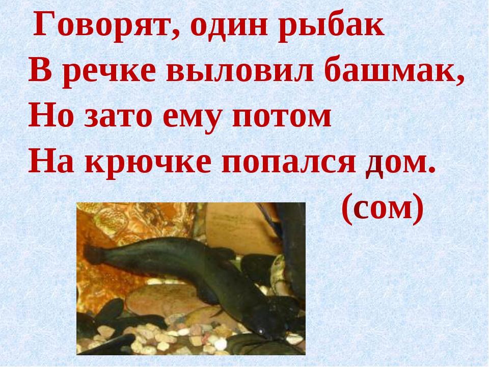 Говорят, один рыбак В речке выловил башмак, Но зато ему потом На крючке попа...