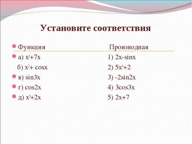 Установите соответствия Функция Производная  а)x2+7x1) 2x-sinx б)...