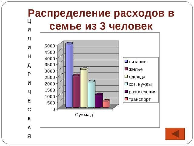 Распределение расходов в семье из 3 человек Ц И Л И Н Д Р И Ч Е С К А Я
