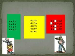 4 х 3= 4 х 1=  4 х 7=  4 х 8=