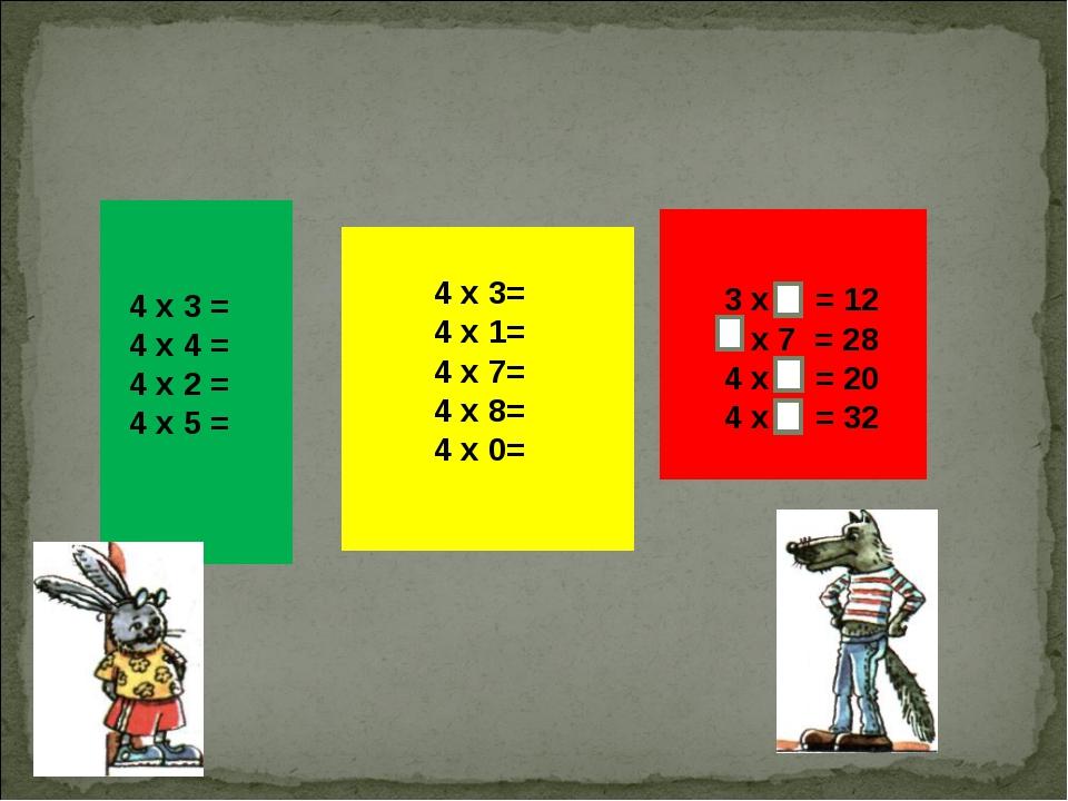 4 х 3= 4 х 1=  4 х 7=  4 х 8=...