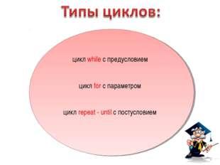 цикл while с предусловием цикл for с параметром цикл repeat - until с постусл