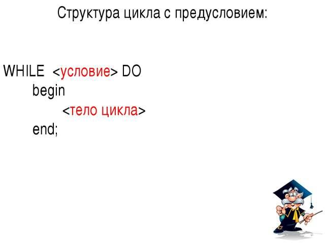 Структура цикла с предусловием: WHILE  DO begin  end;
