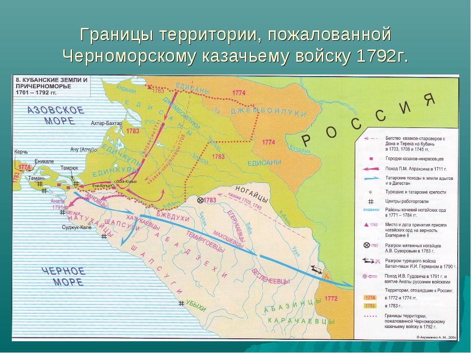 Границы территории, пожалованной Черноморскому казачьему войску 1792г.
