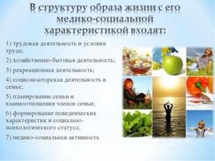 1) трудовая деятельность и условия труда; 2) хозяйственно-бытовая деятельност