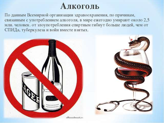 Алкоголь По данным Всемирной организации здравоохранения, по причинам, связан...