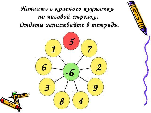 Начните с красного кружочка по часовой стрелке. Ответы записывайте в тетрадь.