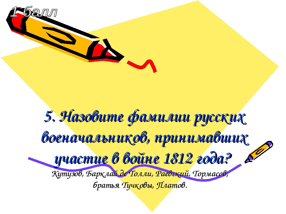 5. Назовите фамилии русских военачальников, принимавших участие в войне 1812...