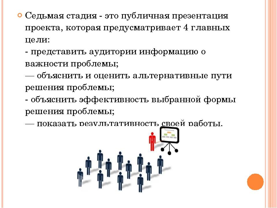 Седьмая стадия - это публичная презентация проекта, которая предусматривает 4...