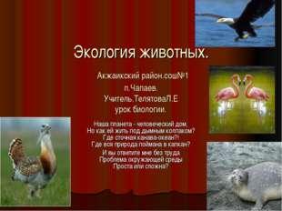Экология животных. Акжаикский район.сош№1 п.Чапаев. Учитель.ТелятоваЛ.Е урок