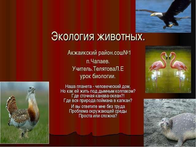 Экология животных. Акжаикский район.сош№1 п.Чапаев. Учитель.ТелятоваЛ.Е урок...