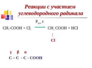 Реакции с участием углеводородного радикала Pкрасн t CH3-COOH + Cl2 CH2 COOH