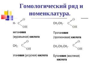Гомологический ряд и номенклатура. Н- метановая (муравьиная) кислота СН3- эта