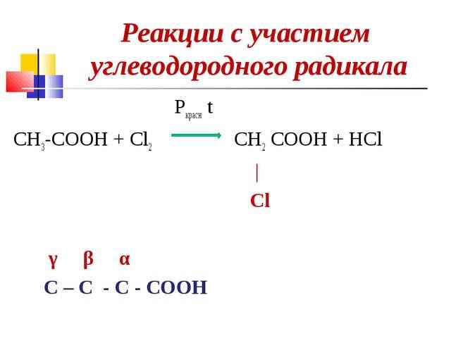 Реакции с участием углеводородного радикала Pкрасн t CH3-COOH + Cl2 CH2 COOH...
