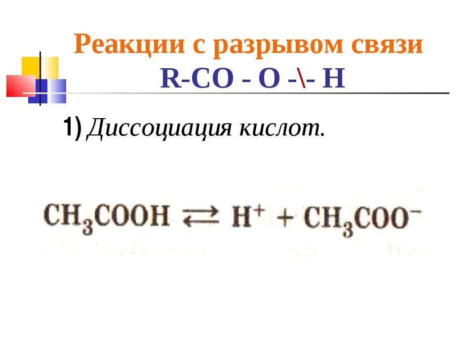 Реакции с разрывом связи R-CO - O -\- H 1) Диссоциация кислот.