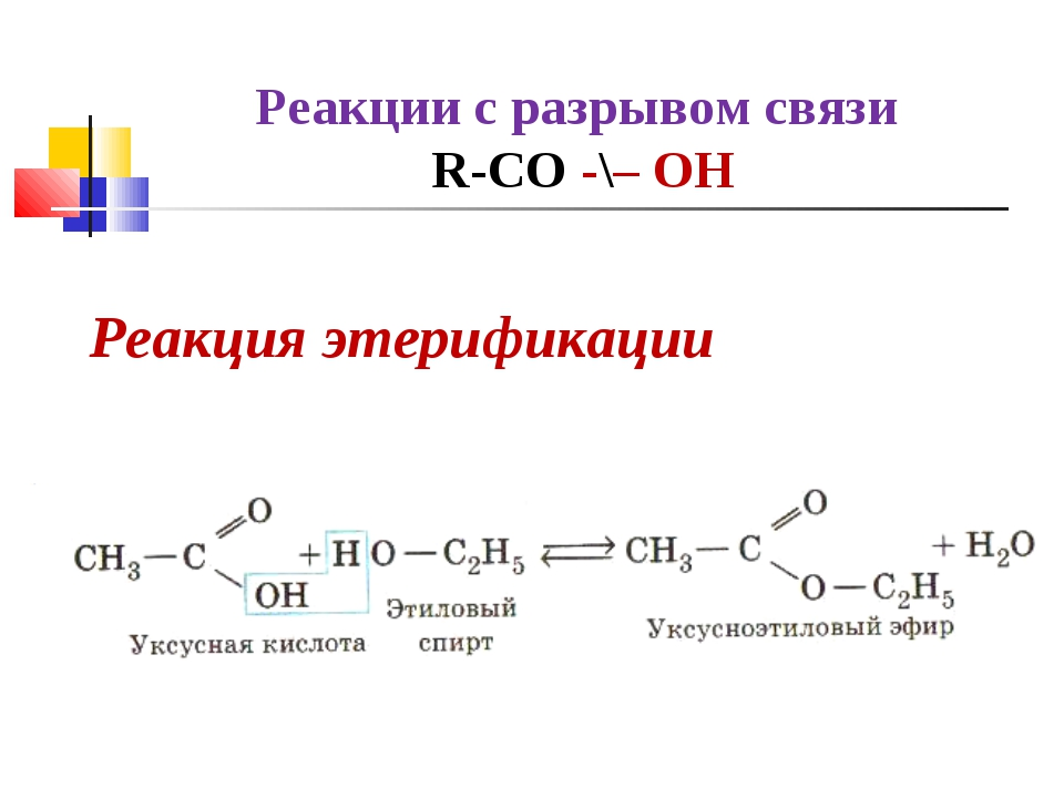 Реакции с разрывом связи R-СO -\– ОН Реакция этерификации