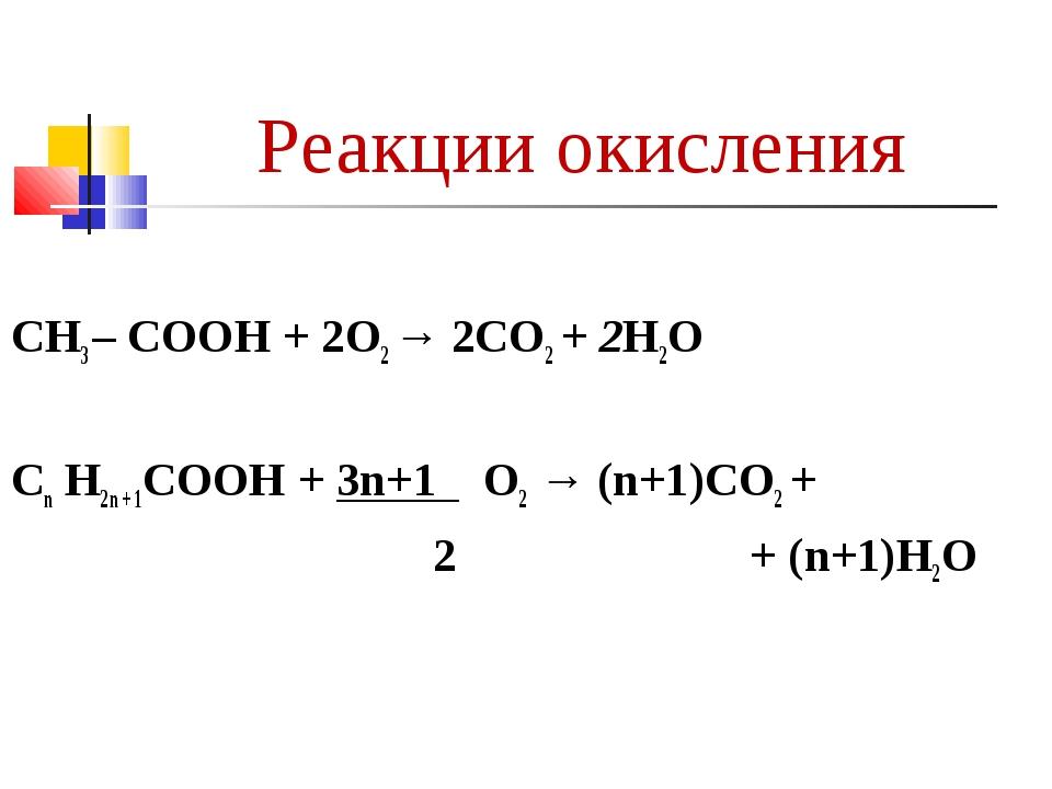 Реакции окисления CH3 – COOH + 2О2 → 2CO2 + 2H2O Сn Н2n + 1СООН + 3n+1 О2 → (...