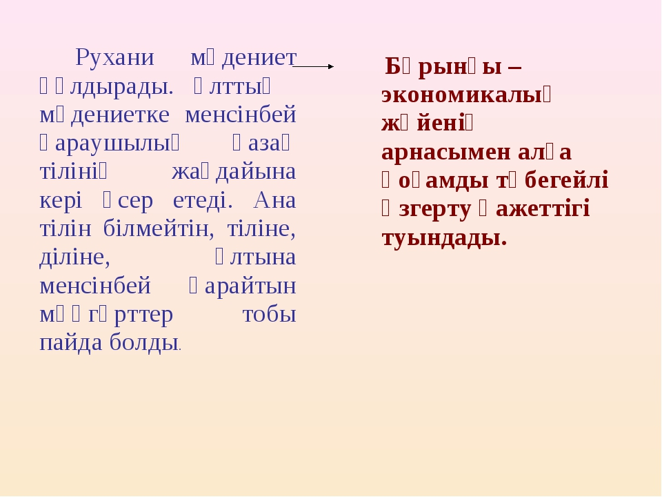 Рухани мәдениет құлдырады. Ұлттық мәдениетке менсінбей қараушылық қазақ тілі...