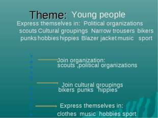 Theme: Express themselves in scouts bikers punks hippies Blazer jacket Cultur