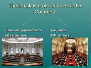 The legislative power is vested in Congress House of Representatives The Sena