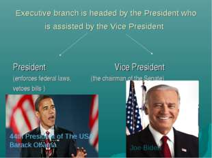 Executive branch is headed by the President who is assisted by the Vice Presi