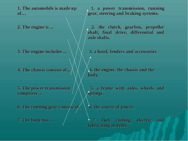 1. The automobile is made up of…	 1. a power transmission, running gear, stee...