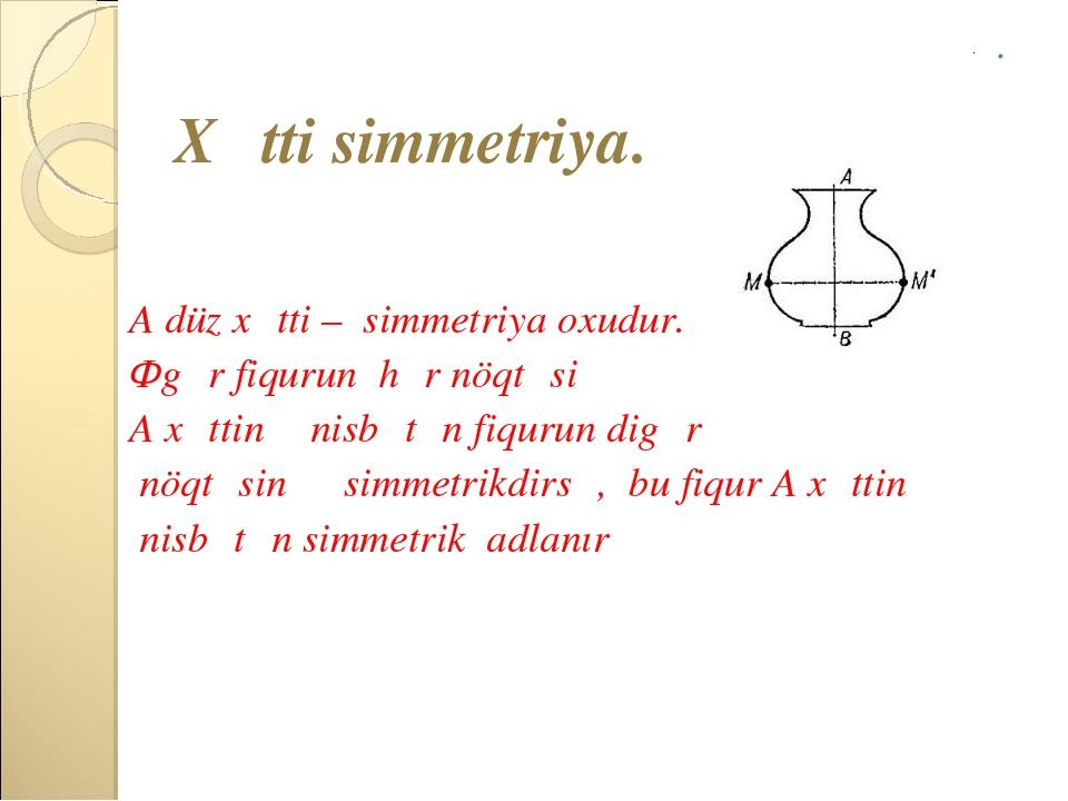 Xətti simmetriya. A düz xətti – simmetriya oxudur. Əgər fiqurun hər nöqtəsi...