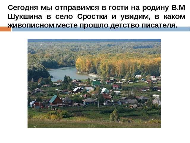 Сегодня мы отправимся в гости на родину В.М Шукшина в село Сростки и увидим,...