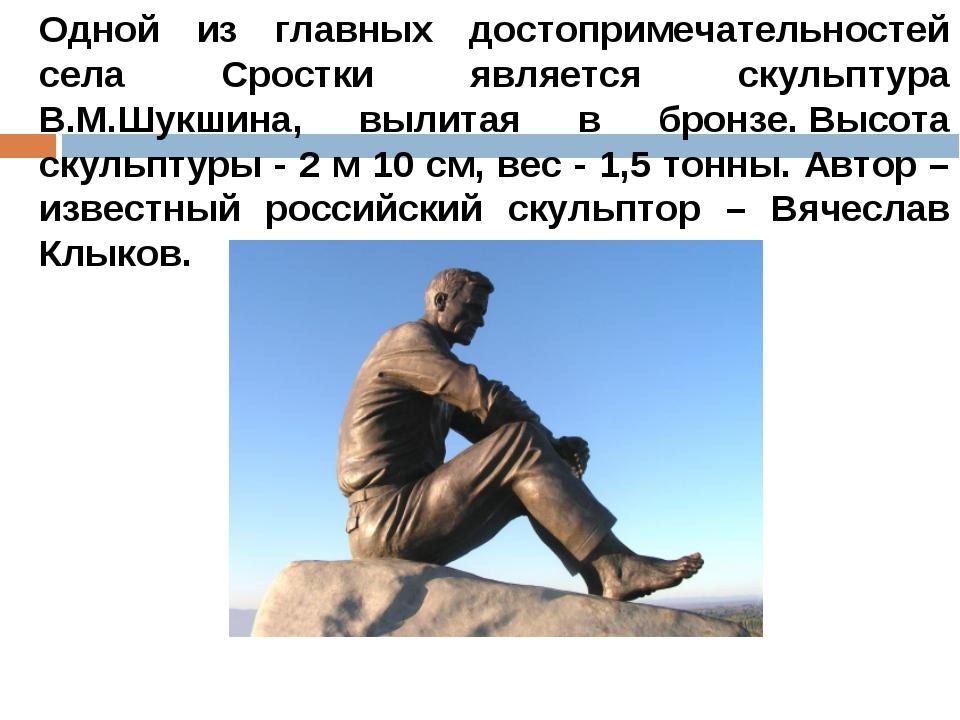 Одной из главных достопримечательностей села Сростки является скульптура В.М....