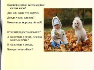 Поздней осенью всегда солнце светит мало? Дни иль ночи, что короче? Дожди час