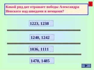 Какой ряд дат отражает победы Александра Невского над шведами и немцами? 1223