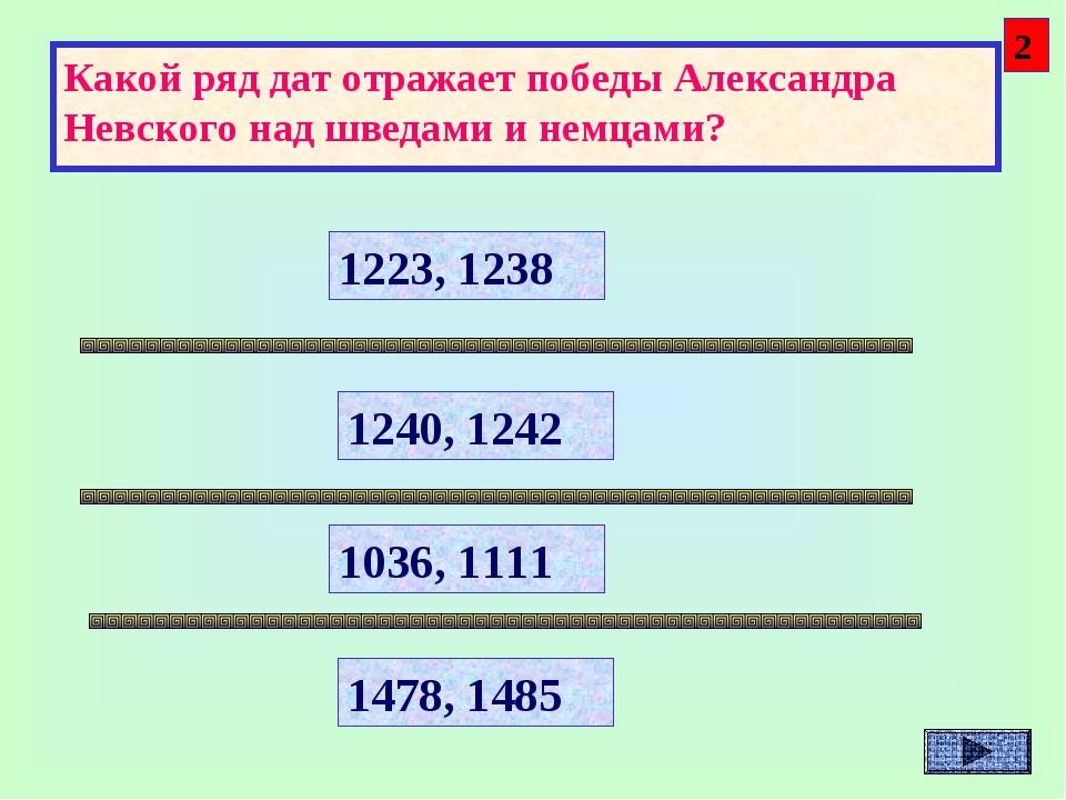 Какой ряд дат отражает победы Александра Невского над шведами и немцами? 1223...