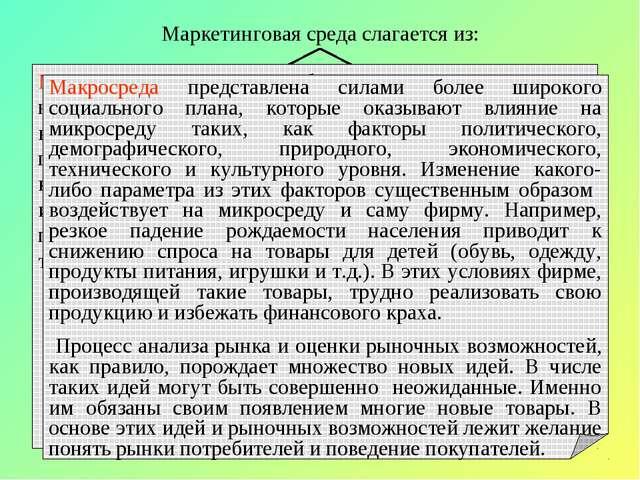 Маркетинговая среда слагается из: Микросреды Макросреды Микросреда представле...